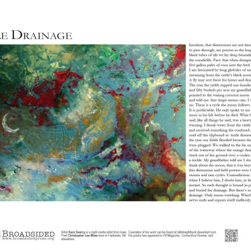 """""""Tile Drainage"""" - Poem by Christopher Lee Miles, Art by Kara Searcy - a Broadsided Press Collaboration"""