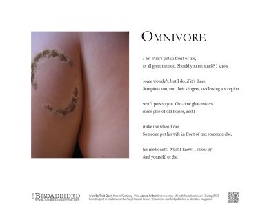 """""""Omnivore"""" - Poem by James Arthur, Art by Se Thut Quon - a Broadsided Press Collaboration"""