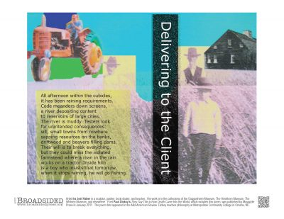 """""""Delivering to the Client"""" - Poem by Paul Dickey, Art by Ira Joel Haber - a Broadsided Press Collaboration"""