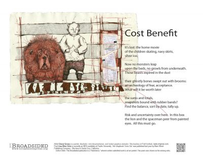 """Cost Benefit"" - Poem by Lisa Ortiz, Art by Cheryl Gross - a Broadsided Press Collaboration"