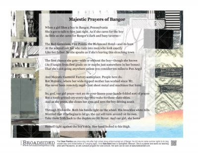 """Majestic Prayers of Bangor"" - Poem by Sean Prentiss, Art by Kate Baird - a Broadsided Press Collaboration"
