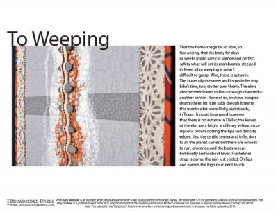 """""""To Weeping"""" - Poem by Amy Groshek, Art by Amy Meissner - a Broadsided Press Collaboration"""