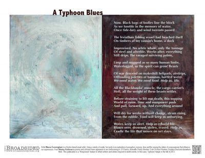 """A Typhoon Blues,"" Poem by Wesley Rothmans, Art by Maura Cunningham - a Broadsided Press Collaboration"