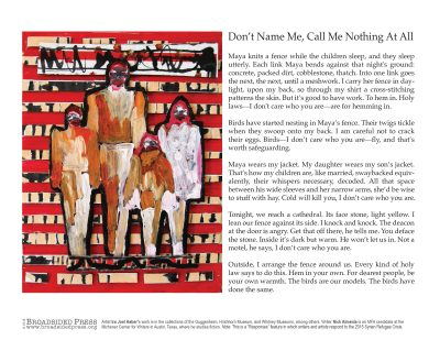 """Broadside of """"Don't Name Me, Call Me Nothing at All,"""" poem by Nick Almedia with art by Ira Joel Haber."""