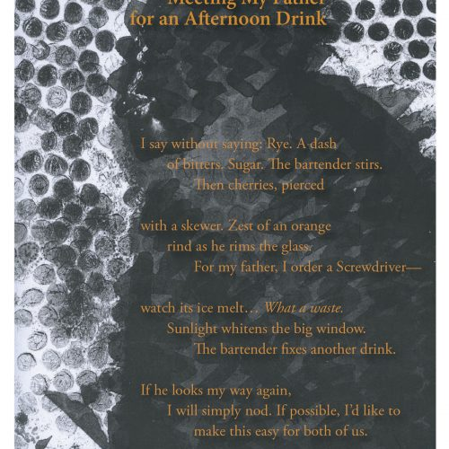 """Broadside of """"Meeting My Father for an Afternoon Drink,"""" poem by Nathan McClain with art by Sam Vernon."""