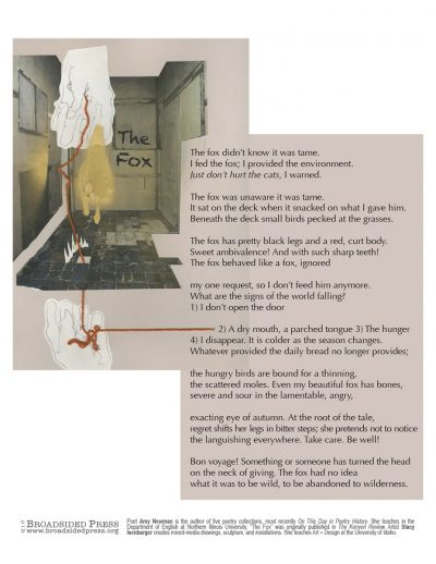 """Broadside of """"The Fox,"""" poem by Amy Newman with art by Stacy Isenbarger."""