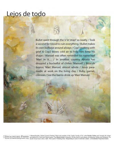 "Broadside ""Lejos de Todo"" by poet Daniel Aristi and artist Sandra Cohen."