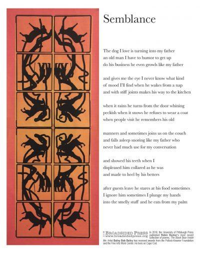 "Broadside ""Semblance"" by poet Robin Becker and artist Bailey Bob Bailey."