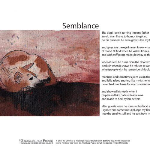 "Broadside ""Semblance"" by poet Robin Becker and artist Kara Page."