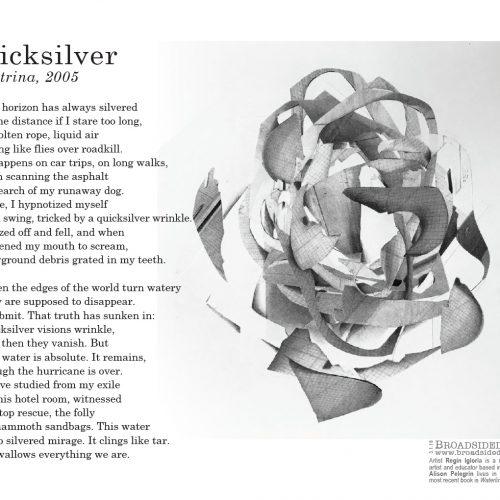 "Broadside ""Quicksilver"" by poet Alison Pelegrin and artist Regin Igloria."