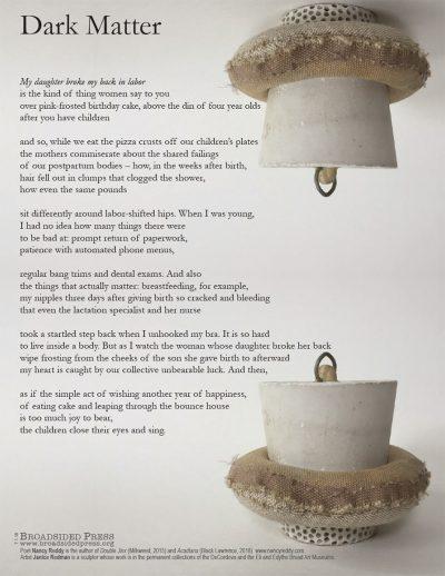 """Broadside of """"Dark Matter,"""" poem by Nancy Reddy with art by Janice Redman."""