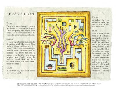 "Broadside of ""Separation,"" poem by Nicole Baute with art by Løchlann Jain."