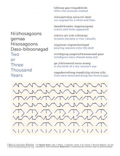 "Broadside of ""Niizhosagoons gemaa Nisosagoons Daso-biboonagad""/""Two or Three Thousand Years,"" poem by Margaret Noodin with art by Meghan Keane."