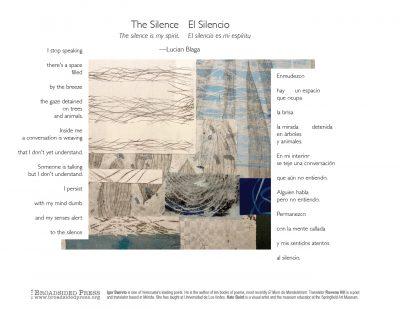 "Broadside of ""El Silencio""/""The Silence,"" poem by Igor Barreto & Rowena Hill with art by Kate Baird."