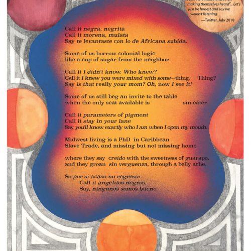 """Broadside of """"After Angelitos Negros,"""" poem by Jni De La O with art by Bailey Bob Bailey."""