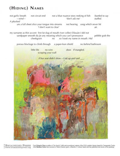 """Broadside of """"(Hiding) Names,"""" poem by Ching-In Chen with art by Barbara Cohen."""