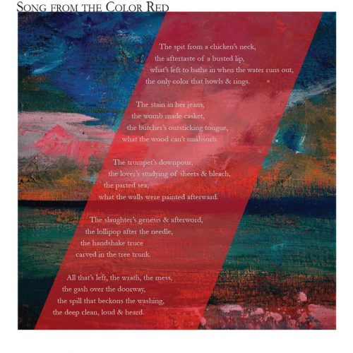 """Broadside """"Song from the Color Red"""" by poet Mackenzie Berry and artist Kara Page."""