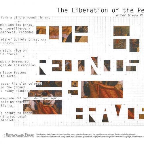 "Broadside ""The Liberation of the Peon"" by poet Barbara de la Cuesta and artist Millian Giang Pham."