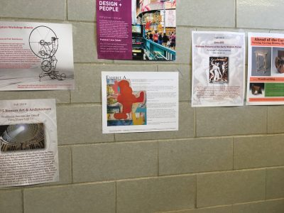 Artist Jennifer Moses posted her broadside on the wall of a corridor along with other flyers on campus life.