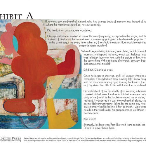 "Broadside ""Exhibit A"" by writer Kaylen Baker and artist Jennifer Moses."