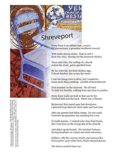 """Broadside """"Shreveport"""" by poet George Franklin and artist David Bernardy."""