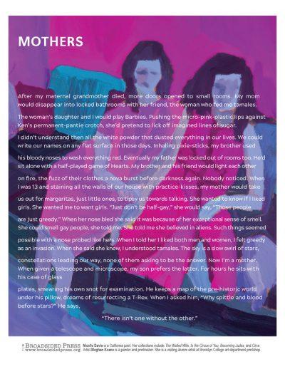 "Broadside of ""Mothers,"" poem by Nicelle Davis with art by Meghan Keane."