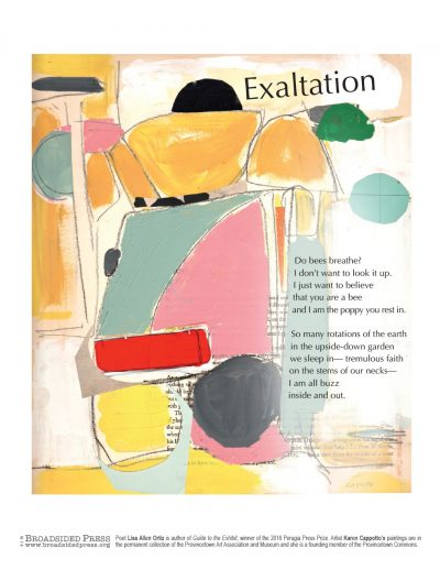 "Broadside of ""Exaltation,"" poem by Lisa Allen Ortiz with art by Karen Cappotto."