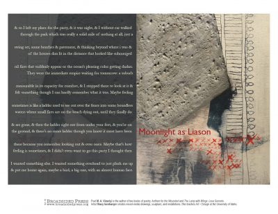 """Broadside of """"Moonlight as Liason,"""" poem by MA Visolyi with art by Stacy Isenbarger."""