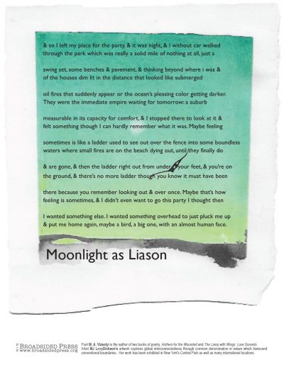 """Broadside of """"Moonlight as Liason,"""" poem by MA Vizsolyi with art by MJ Levy Dickson."""