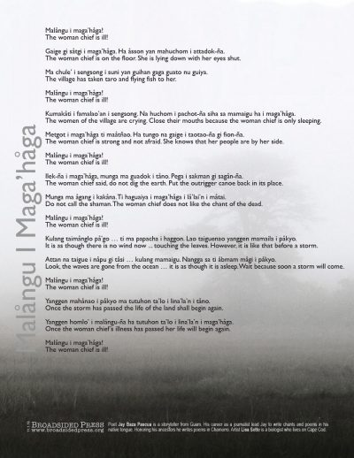 "Broadside of the poem ""Malångu I Maga'håga"" / ""The Woman Chief is Ill"" by Jay Baza Pascua with art by Lisa Sette. The image is a black and white photograph of a misty field with a tree in the background. The poem lays on top of the image. Gray shades predominate."