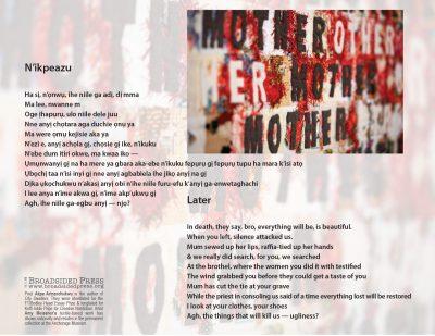 "Broadside of ""N'ikpeazu""/""Later,"" poem by Akpa Arinzechukwu with art by Amy Meissner."