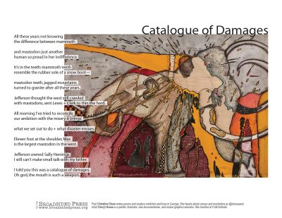 """Broadside of """"Catalogue of Damages,"""" poem by Christina Olson with art by Cheryl Gross."""