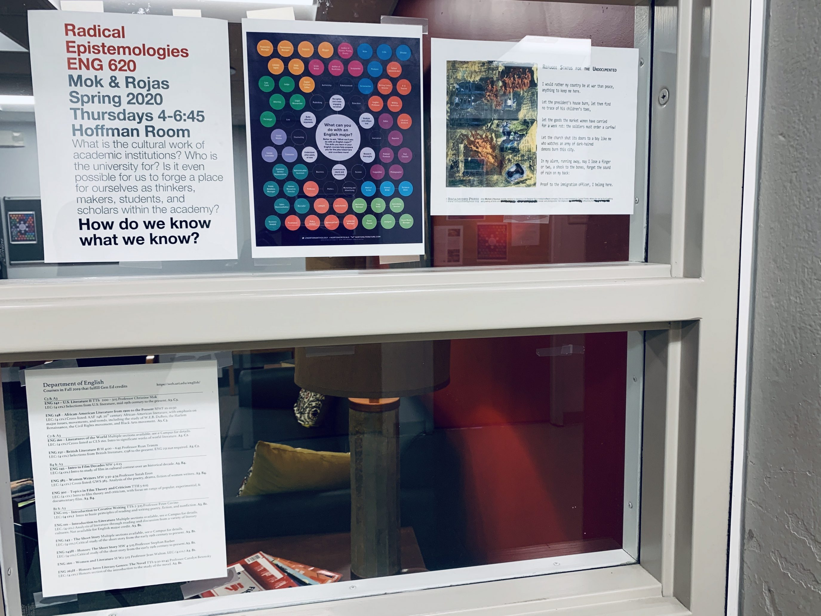 Poet Jae Elim posted the broadside upon a window next to the flyers on college campus life.