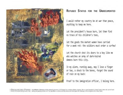 """Broadside """"Refugee Status for the Undocumented"""" by poet Jae Elim and artist Michele l'Heureux."""