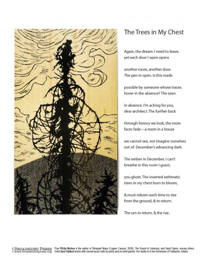 """Broadside """"The Trees in My Chest"""" by poet Philip Metres and artist Sara Tabbert."""