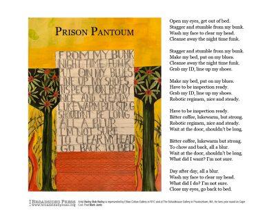 "Broadside ""Prison Pantoum"" by poet Mark Jantz and artist Bailey Bob Bailey."