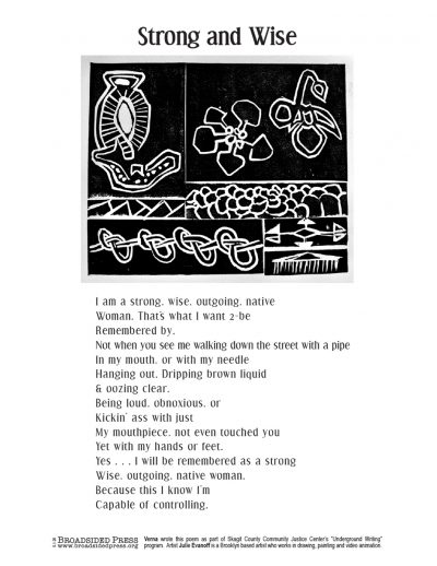 """Broadside """"Strong and Wise"""" by poet Verna and artist Julie Evanoff."""