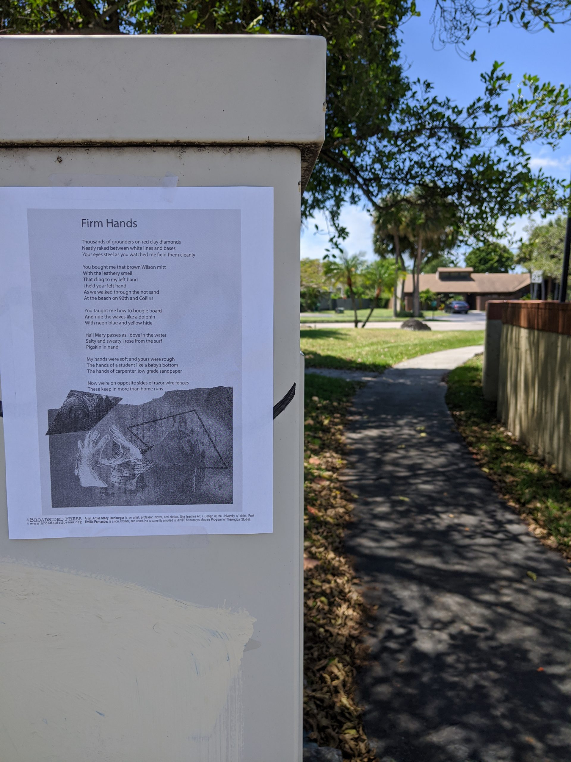 The broadside posted by George Franklin on a walk path.