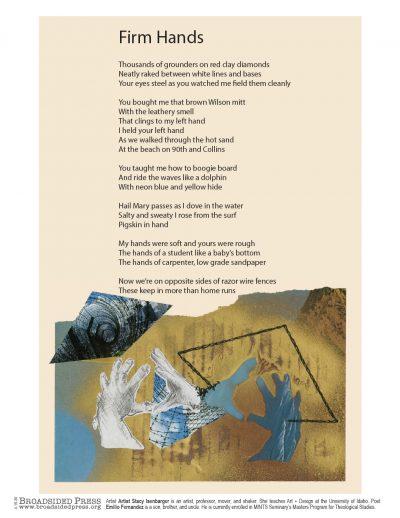 "Broadside ""Firm Hands"" by poet Emilio C. Fernandez and artist Stacy Isenbarger."