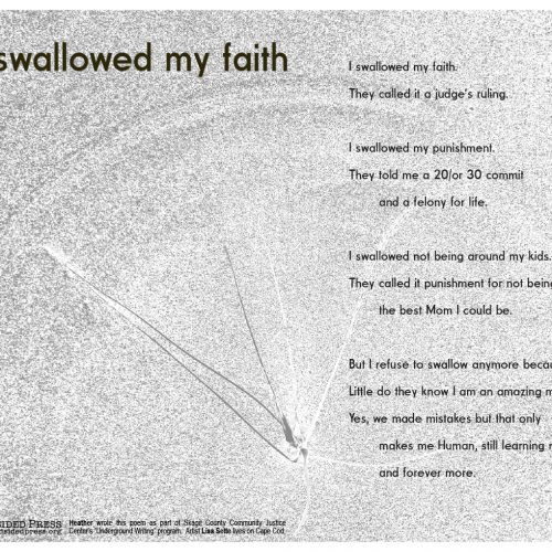 "Broadside ""I Swallowed My Faith"" by poet Heather and artist Lisa Sette."