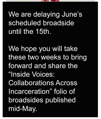 A notice of the delay of June broadside publication till the 15th.