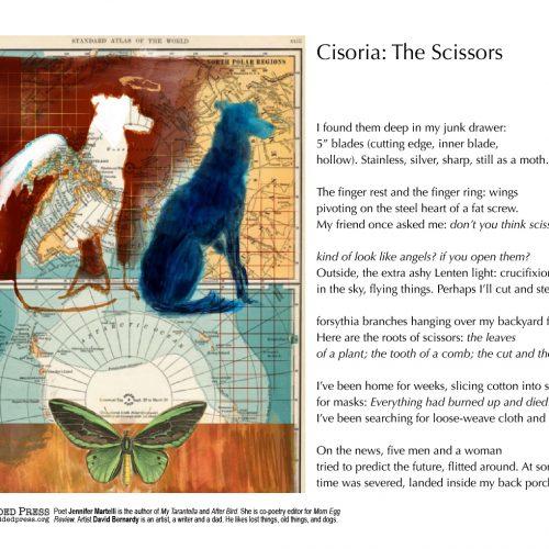 "Broadside of ""Cisoria: The Scissors,"" poem by Jennifer Martelli with art by David Bernardy."