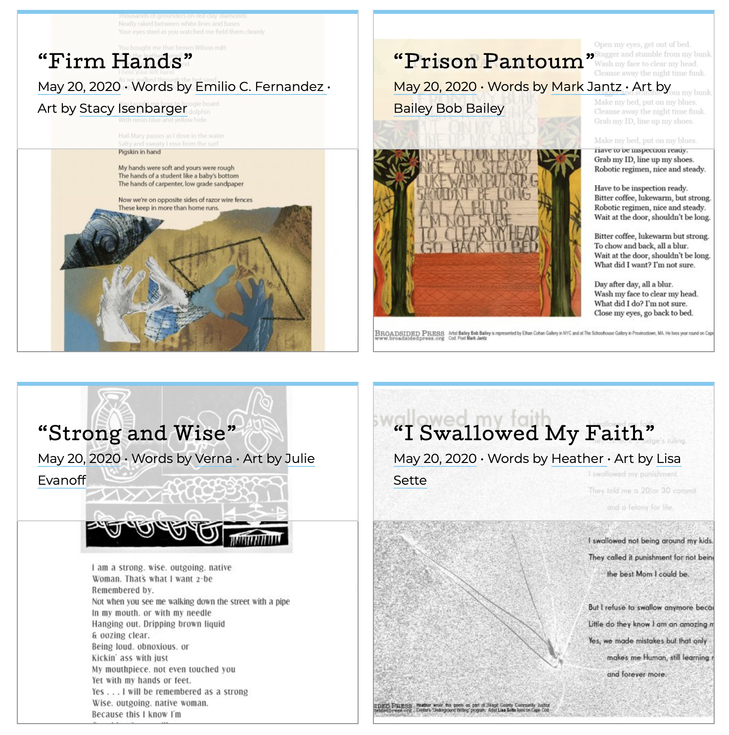 """the four """"inside voices"""" broadsides."""