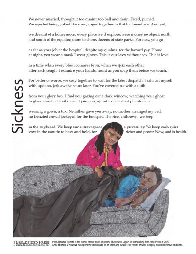 """Broadside of """"Sickness,"""" poem by Jennifer Perrine with art by Michele L'Heureux."""