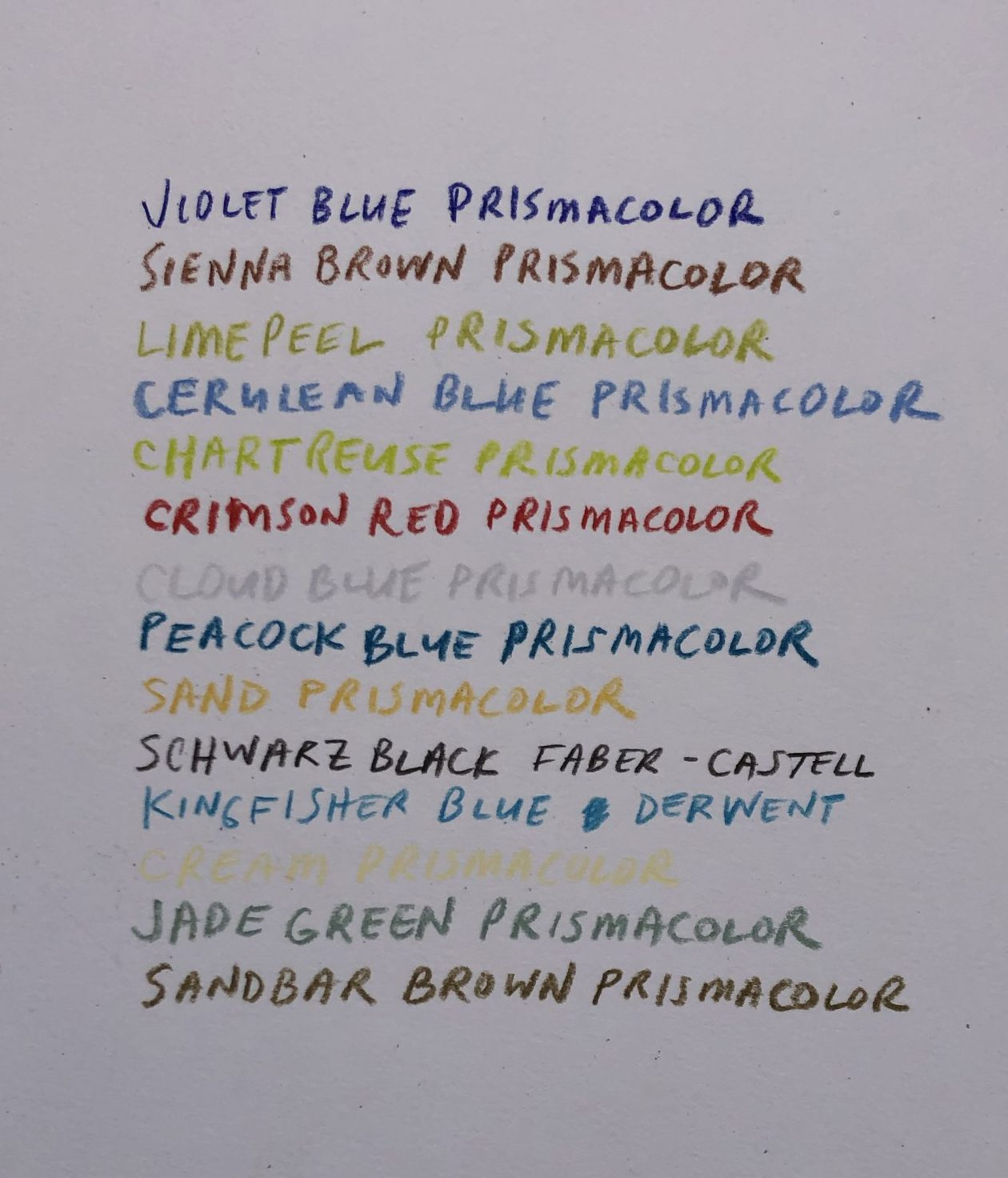list of the colors used in the artist's visual response