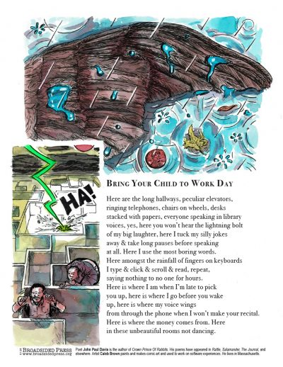 """Broadside of """"Bring Your Child to Work Day,"""" poem by John Paul Davis with art by Caleb Brown."""