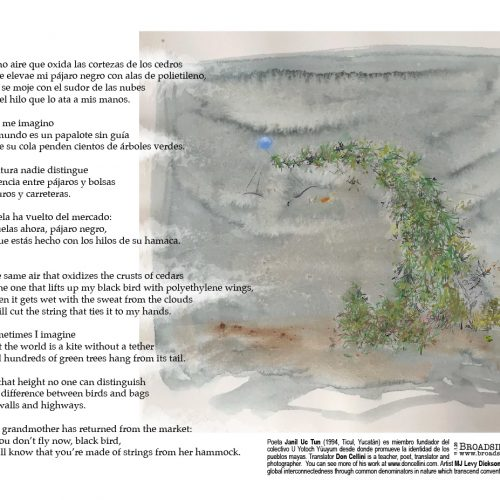 """Broadside of """"IV,"""" poem by Janil Uc Tun and Don Cellini with art by MJ Levy Dickson."""