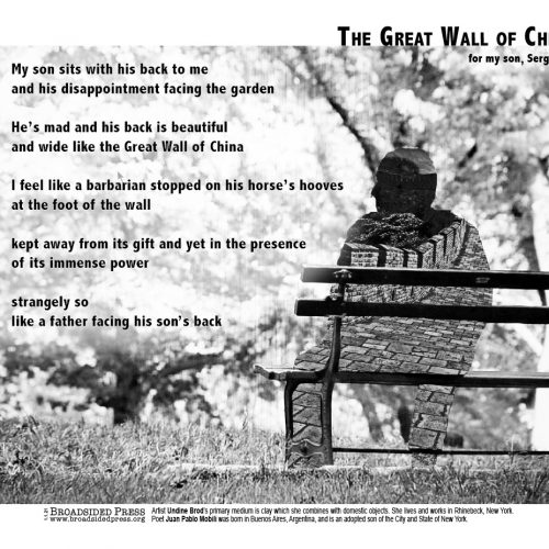 """Broadside """"The Great Wall of China"""" by poet Juan Pablo Mobili and artist Undine Brod."""