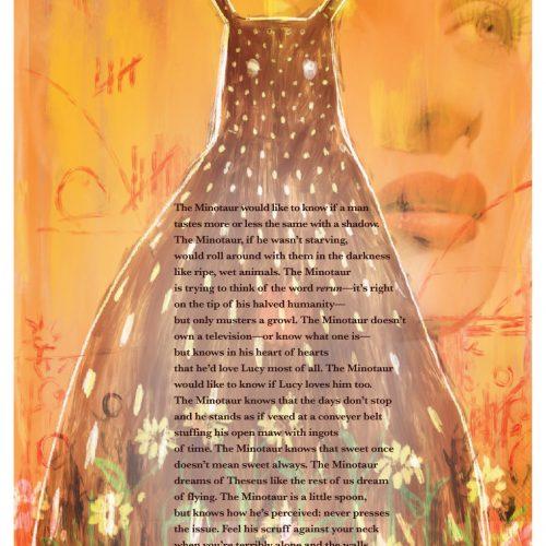 "Broadside ""The Minotaur Loves Lucy Most of All"" by poet James Ellenberger and artist David Bernardy."