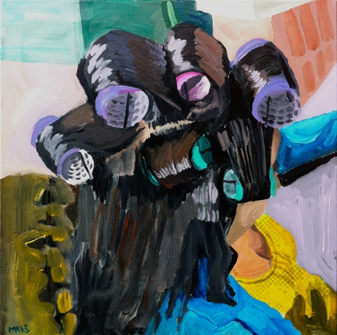 A painting that shows the back of a figure's head. Six large hair rollers in purple, pink, and turquoise crown her head. We can see a bit of her right profile and her bright yellow top. The background is abstracted.